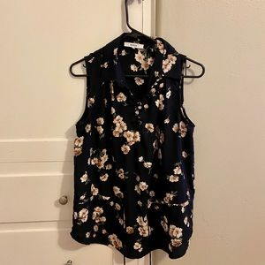 Navy and floral collared & tie tank